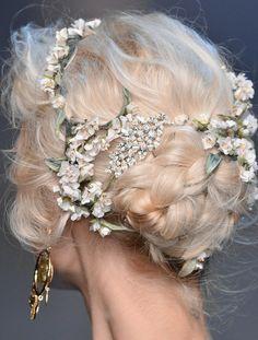 lamorbidezza:  Dolce&Gabbana Spring 2014 Details hair flowers, cotton candy, hairstyles, vintage weddings, wedding ideas, pastel pink, braids, wedding hairs, beauti