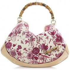 Canvas Floral Flora Peggy Bamboo Top Handle Hobo