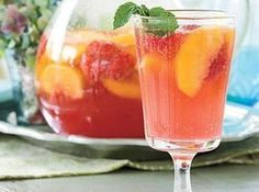 Just Peachy Sangria Recipe 1 bottle	white wine of your choice 1 c	peach schnapps 1/2 c	frozen lemonade concentrate, thawed 2	nectarines, sliced 1 c	green or red grapes, whole or sliced