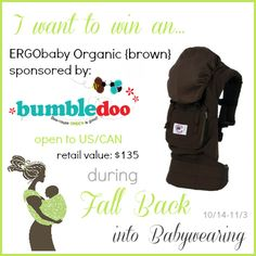 I want to win an ERGObaby Carrier from Bumbledoo in the MEGA #FallBackBaby Giveaway Event! 18 #baby carriers and accessories up for grabs!