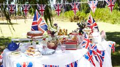 party table with food and union jacks