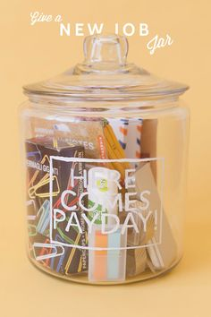 NEW JOB JAR ---> what a thoughtful idea for friends, family, residents and colleagues who are starting a new career adventure. For this fab idea and many more, click on the pic to visit the Oh Happy Day Blog. #giftidea