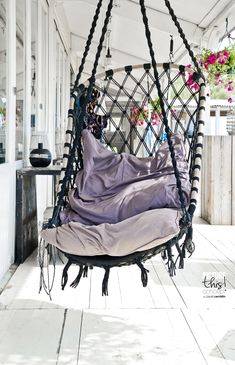 Hanging deck swing chairing would love one of these on the outside of an old and small beach house