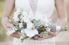 Photo by KLK Photography: http://www.klkphotography.com - Florals by Jen K Floral Design, Makeup & Hair by Two Tone Umbrella - unique bouquet, beach wedding flowers, unique wedding flowers, beach bouquet, beach wedding photographer, destination wedding photos, shells, flowers, rustic wedding, romantic wedding photos, whimsical, klk photography, Southern California wedding, orange county photographer, klk uniqu bouquet, beach weddings, floral designs, beach bouquet