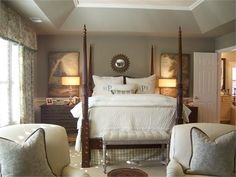 Heidi Johnston - benjamin moore sandy hook gray walls paired with whites, creams, & soft muted blues, gorgeous monogrammed pillow shams, bench at the foot of the bed, plaid bed skirt, drum shades, four poster bed, matelasse coverlet
