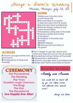 Wedding game program!