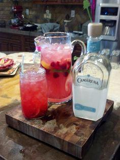 *Pink lemonade Margarita*   1 can pink frozen lemonade, 3 can water, 1 can tequila, 1/2 can triple~ sec, fresh sliced lemon, lime, raspberry, strawberries. Add ice an an drink.