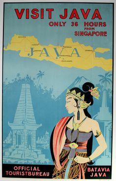 Visit Java, 1930s - original vintage poster listed on AntikBar.co.uk