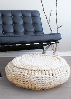 Crochet Cable Footstool