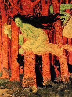 Eugene Grasset - Three Women with Three Wolves, 1900
