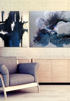 Blues and purples for living room// Amazing artworks//