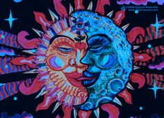 psychedel art, sun moon, moon sun