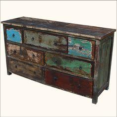 .Rustic Distressed Reclaimed Wood Vanity.