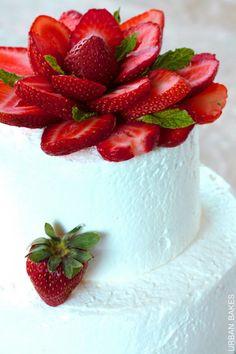 Strawberry Cake with whipped cream | urbanbakes.com