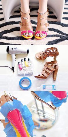 fashion, nail polish, diy crafts, nailpolish, heels, design blogs, crafti idea, maiko nagao, neon shoe