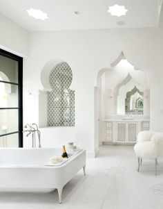 interior, floor, dream, bathtub, arches, moroccan style, bathroom designs, white bathrooms, design bathroom
