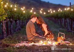 Engagement photo - This couple is crazy in love under the moonlight.