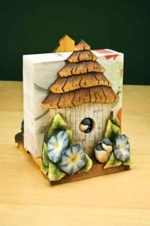 Carving and painting a birdhouse napkin holder. Beginner