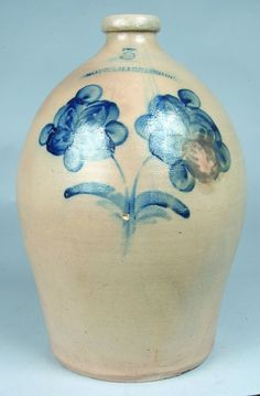 "Sold For $ 950  Blue Decorated Stoneware Jug stamped Moyer, Harrisburg, (Pa.), 3, having bold double flower with foliate spray below, applied handle with blue accents, stone pop at base of decoration, 16"" h."