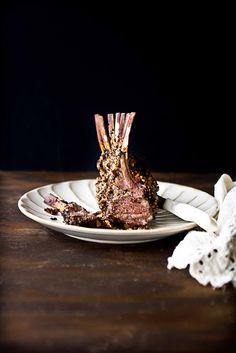 Raspberry Balsamic and Pecan Encrusted rack of Lamb