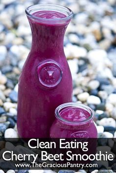 Clean Eating Cherry Beet Smoothie...1 cup frozen cherries, unsweetened  2 cups marinated beets  1 cup light coconut milk  1 medium banana  1 tsp. ground cinnamon.