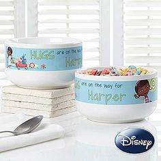 OMG My little ones would LOVE LOVE LOVE this! --- Disney® Doc McStuffins Personalized Bowl (they have a matching coffee mug and cookie jar too!) ... I can see her now, eating her cereal out of her new Doc McStuffins bowl that has her name on it! #Disney #DocMcStuffins