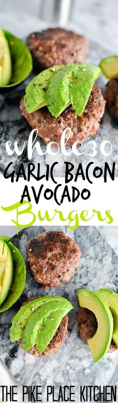 "Garlic Bacon Avocado Burger recipe! We love this whole30 approved recipe for a quick & easy emergency meal! | <a href=""http://thepikeplacekitchen.com/?utm_campaign=coschedule&utm_source=pinterest&utm_medium=the%20Pike%20Place%20Kitchen&utm_content=Whole30%20Garlic%20Bacon%20Avocado%20Burgers"" rel=""nofollow"" target=""_blank"">thepikeplacekitch...</a>"