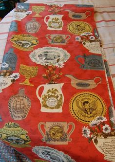 Early American fabric - polished cotton / chintz