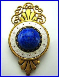Vintage Brooch Pin SIGNED HOBE Blue Glass by BrightgemsTreasures, $34.50