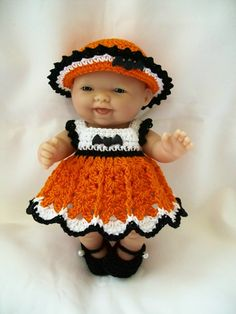 Crochet Berenguer Doll Clothes - 5 inch itty bitty Lots to Love Reborn doll clothes - Halloween Doll Clothes Handmade