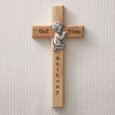 $20.95 Baptism Gift - Wood and Pewter Praying Boy Cross - Personalized