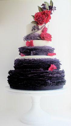 purple pink wedding cake
