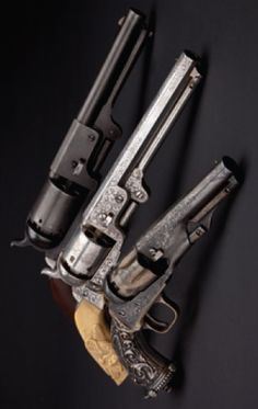 Colt Dragoon, 1st model, cal. .44 / Colt M 1851 luxury version, cal. .36 / Colt Mod. 1862 Police, engraved, with Tiffany grip plates, cal. .36.