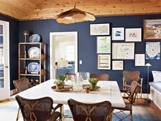 Love the colors. Sag Harbor dining room designed by Tom Scheerer.  Photo by Francesco Lagnese. | Lonny.