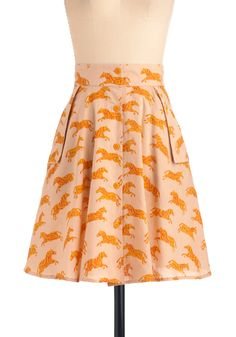 Make a Run for It Skirt - Mid-length, Orange, Pink, Print with Animals, Pockets, A-line, Buttons
