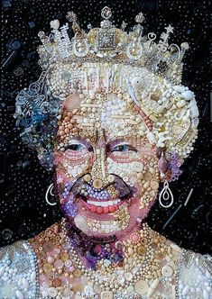 Impressive ... Jane Perkins' portrait of the Queen made from buttons, beads, etc