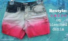 Pearmama: Restyle: Pink Ombre on Bleached Denim