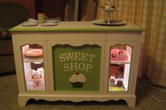 play bakery, girl room, idea, old furniture, play bakeri, record player bakery, play room, display cases, play kitchens