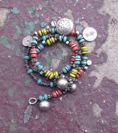 Hill Tribe Silver Bracelet w Czech Picasso Beads / Wrap / Charm