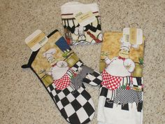FUN BRAND NEW 4 PC ITALIAN CHEF OVEN MITT KITCHEN TOWEL DISHCLOTH SET | eBay