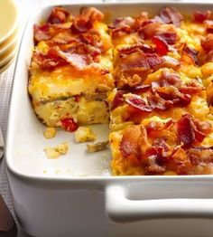 Recipe for Bacon and Hash Brown Egg Bake - Brunch? Mix up breakfast favorites of bacon and hash browns in a make-ahead egg bake.