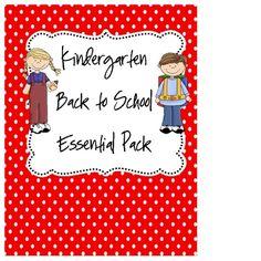 Kindergarten Back to School pack!