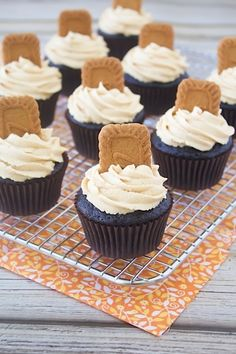 Dark Chocolate Biscoff Cupcakes