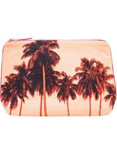 DEZSO - Flamingo Palms Cotton Canvas Pouch Clutch 7