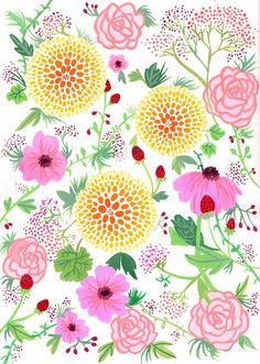 Summer floral pattern  www.ericasharp.co.uk