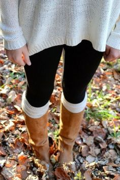 Stylish white sieve sweater, black leggings and brown long boots combination for fall Fun and Fashion Blog