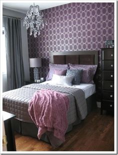 My bed is currently grey and purple. Would love to do the wall behind my bed a deep grey