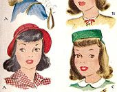 "1940s Girls Hat Pattern, Vintage Sewing Pattern, McCall 1204 size 22"" uncut"