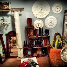 Come visit our newly redecorated vintage boot corner! Have a sit, try on boots and kick up your heels! Vintage leather boots..yummm