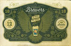 colorado brewers rendezvous graphic design, logo, eagl, ornament, vintag script